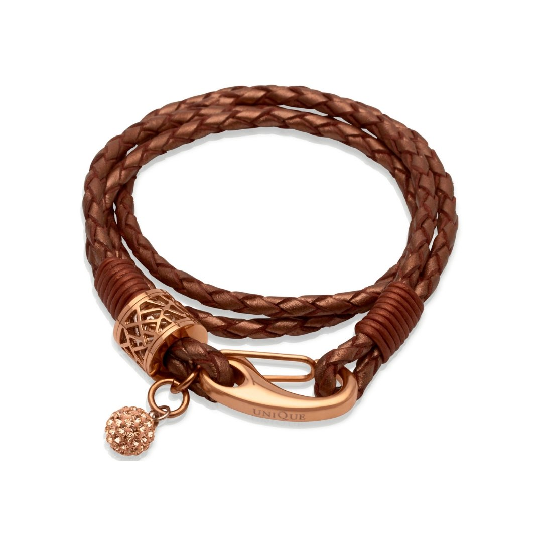 Unique & Co Women's Leather Bracelet With Crystal Ball Copper