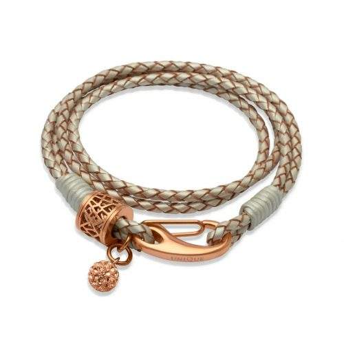 Unique & Co Women's Leather Bracelet With Crystal Ball Pearl