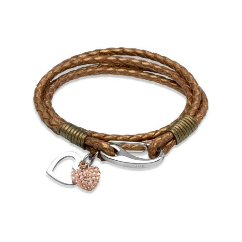 Unique & Co Women's Leather Bracelet With Crystal Heart Bronze