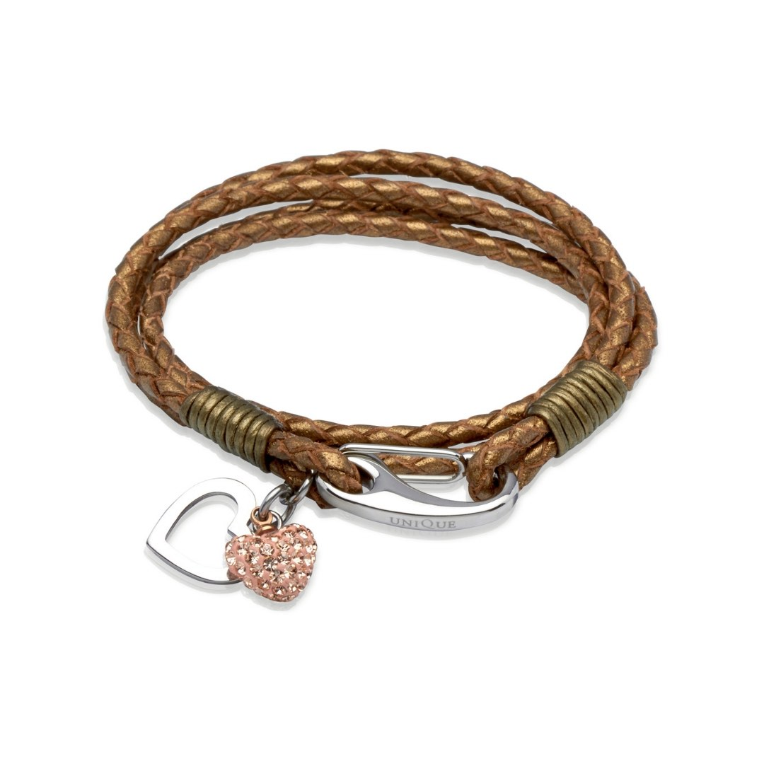 Unique & Co Women's Leather Bracelet With Crystal Heart Bronze
