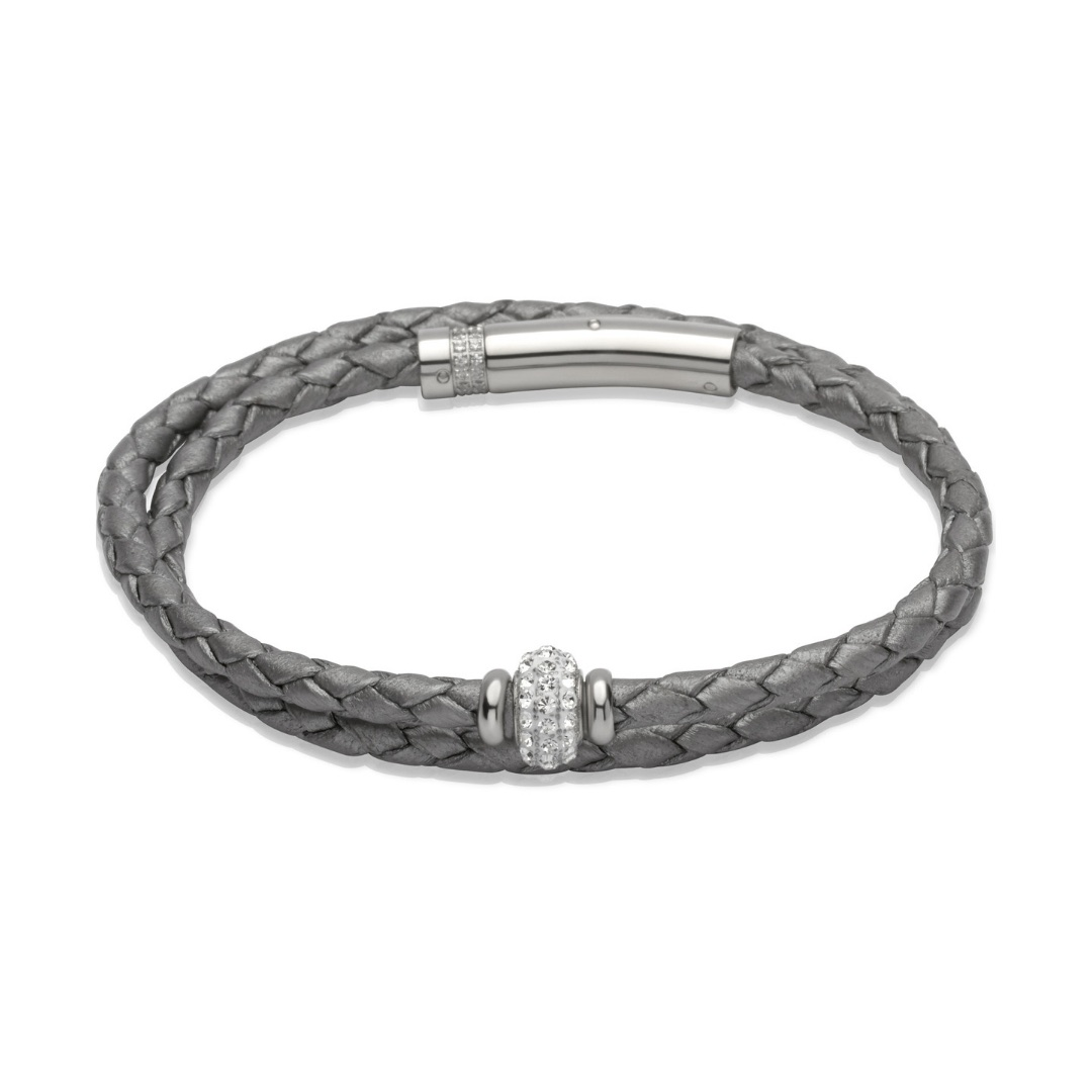 Unique & Co Women's Leather Bracelet With Crystal Bead Silver Grey