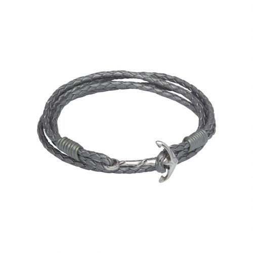 Unique & Co Women's Leather Bracelet With Anchor Clasp Grey