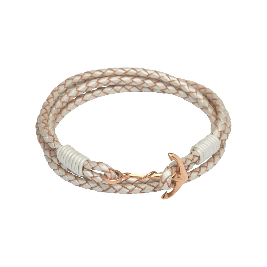 Unique & Co Women's Leather Bracelet With Anchor Clasp Pearl