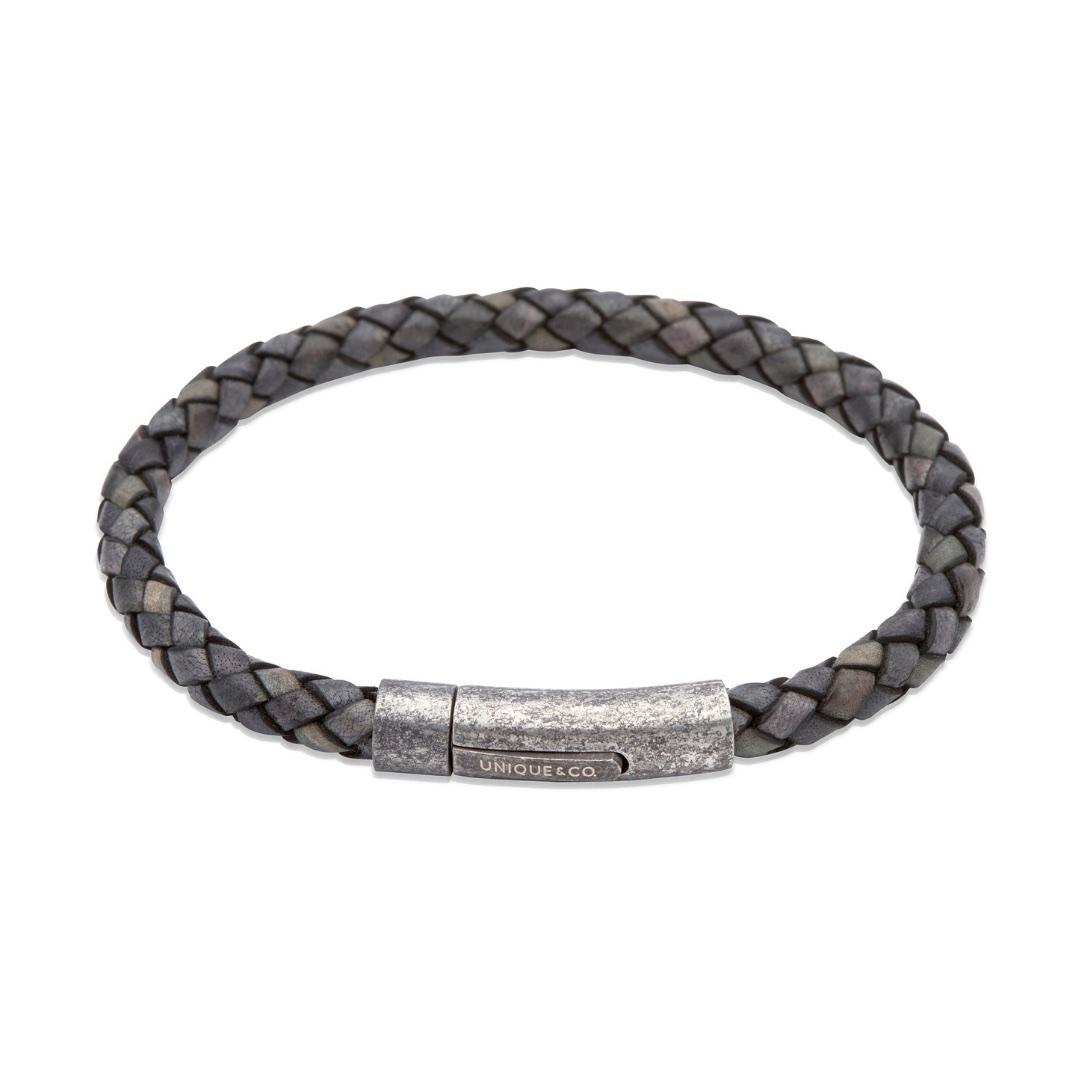 Unique & Co Men's Leather Bracelet With Gunmetal Pusher Clasp Antique Black