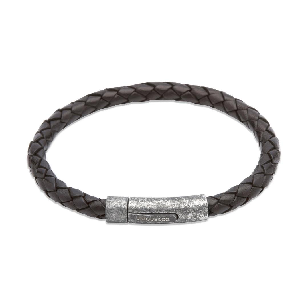 Unique & Co Men's Leather Bracelet With Gunmetal Pusher Clasp Black