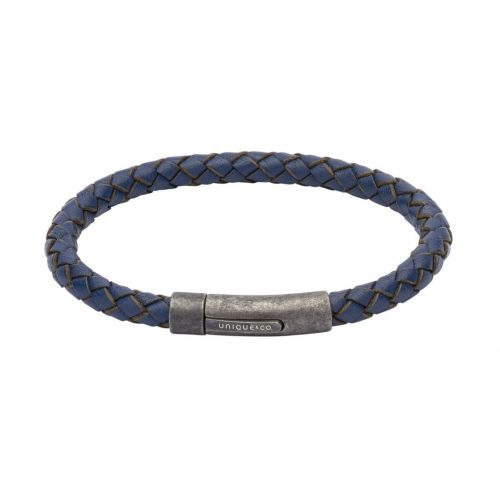 Unique & Co Men's Leather Bracelet With Gunmetal Pusher Clasp Blue