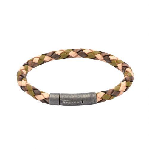 Unique & Co Men's Leather Bracelet With Gunmetal Pusher Clasp Camo