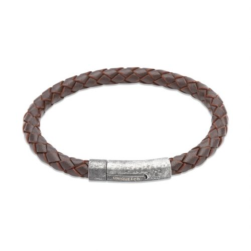 Unique & Co Men's Leather Bracelet With Gunmetal Pusher Clasp Brown