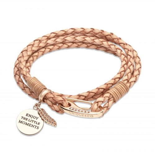 Unique & Co Women's Leather Bracelet With Motto & Feather Charm Natural