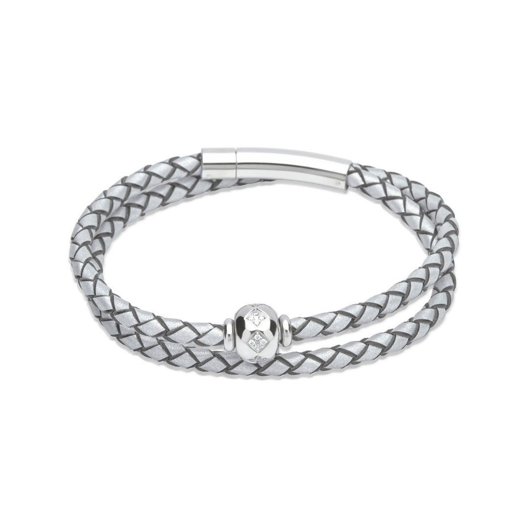 Unique & Co Women's Double Leather Bracelet With Crystal Bead Silver