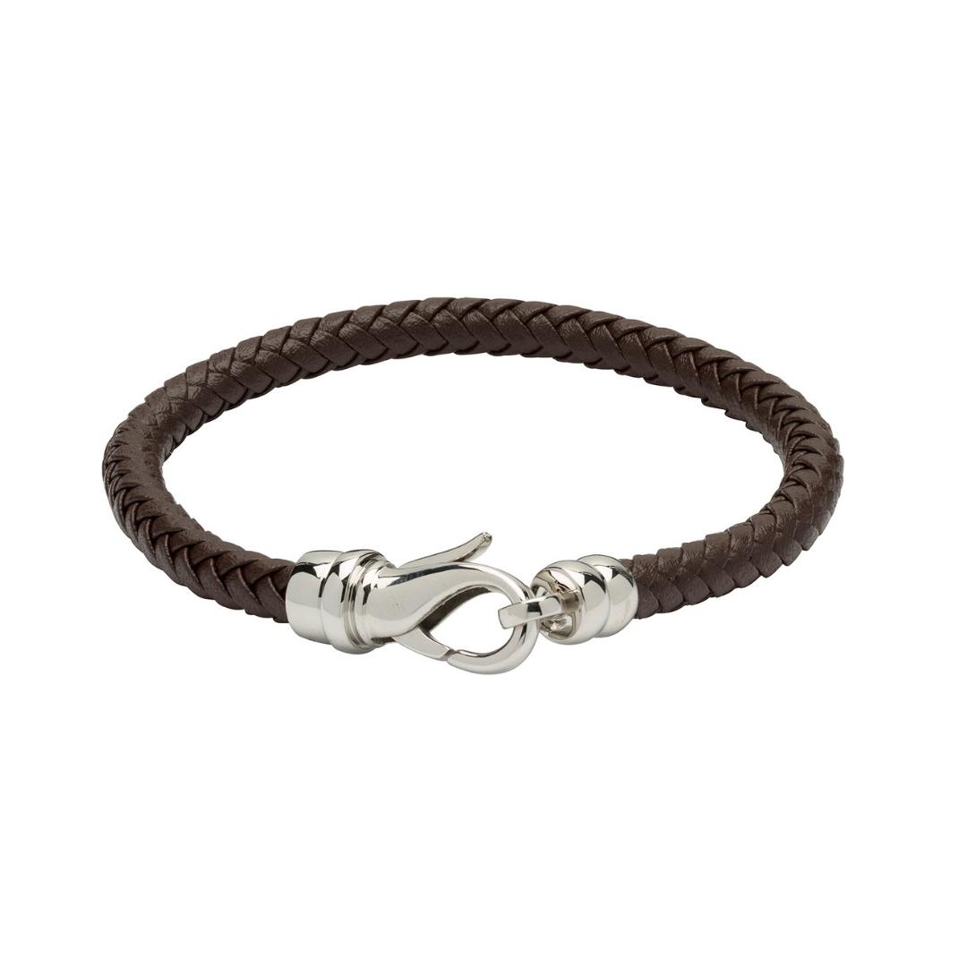 Unique & Co Men's Leather Bracelet With Lobster Clasp Brown