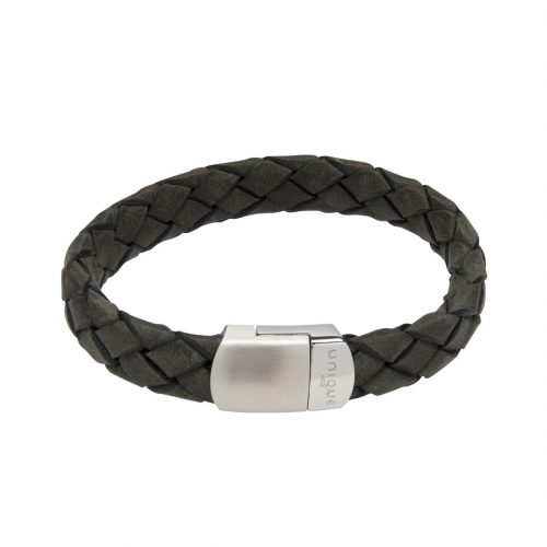 Unique & Co Men's Leather Bracelet With Magnetic Clasp Antique Black