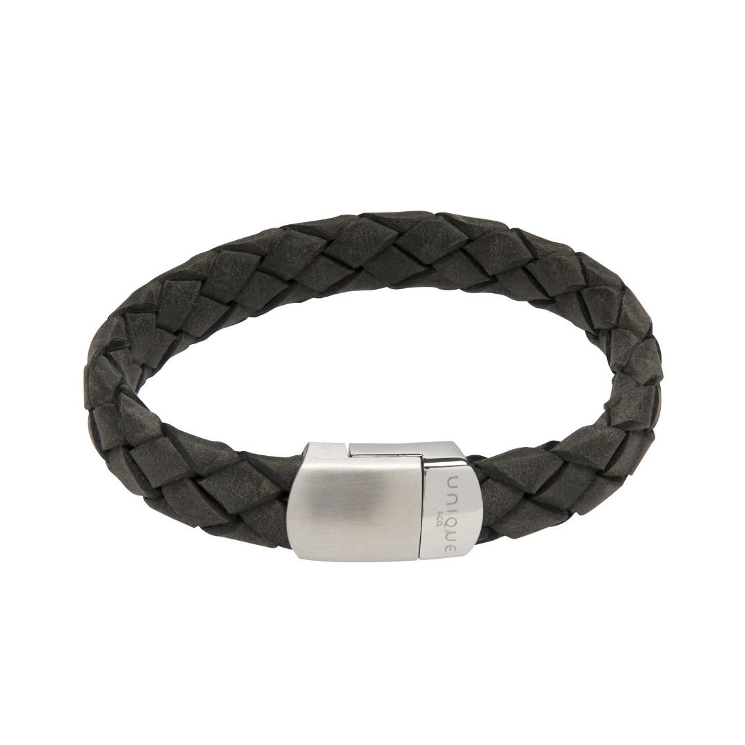 Unique & Co Men's Leather Bracelet With Magnetic Clasp Antique Black