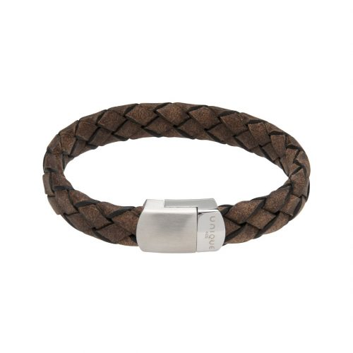 Unique & Co Men's Leather Bracelet With Magnetic Clasp Smokey Brown