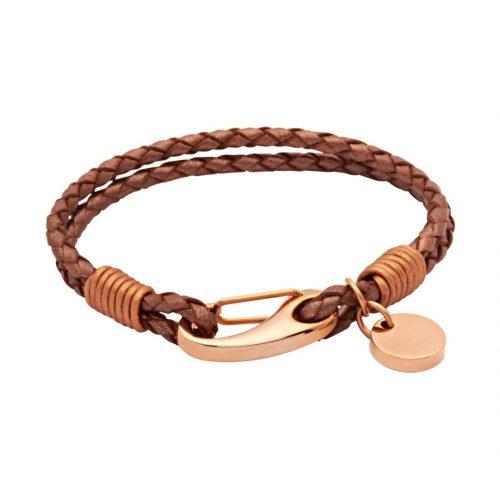 Unique & Co Women's Leather Bracelet With Pusher Clasp Copper
