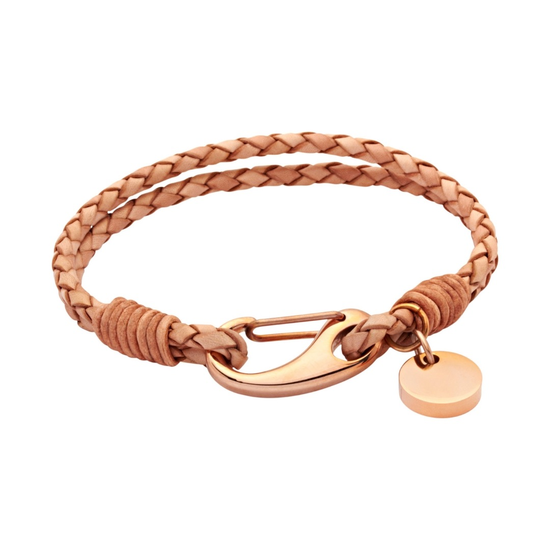 Unique & Co Women's Leather Bracelet With Pusher Clasp Natural