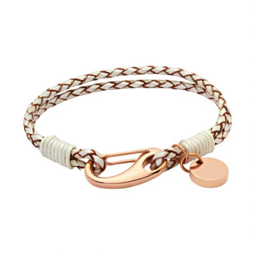 Unique & Co Women's Leather Bracelet With Pusher Clasp Pearl
