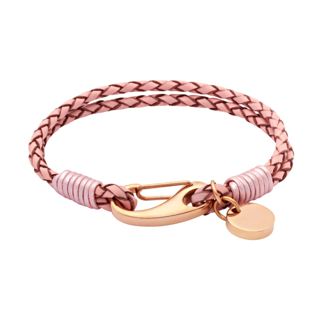 Unique & Co Women's Leather Bracelet With Pusher Clasp Pink