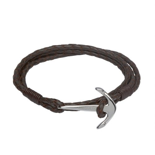 Unique & Co Men's Double Leather Bracelet With Anchor Clasp Brown