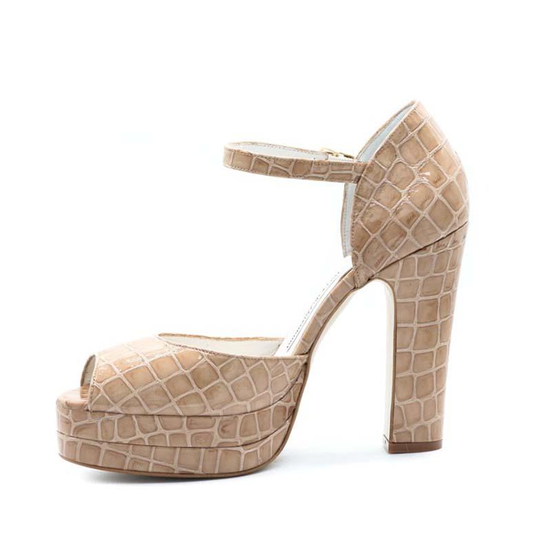 Terry De Havilland Croc Print Lena Platform Sandals In Cigar