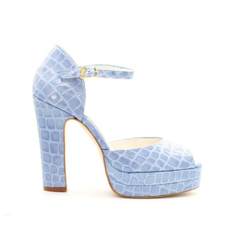Terry De Havilland Croc Print Lena Platform Sandals In Sky Blue
