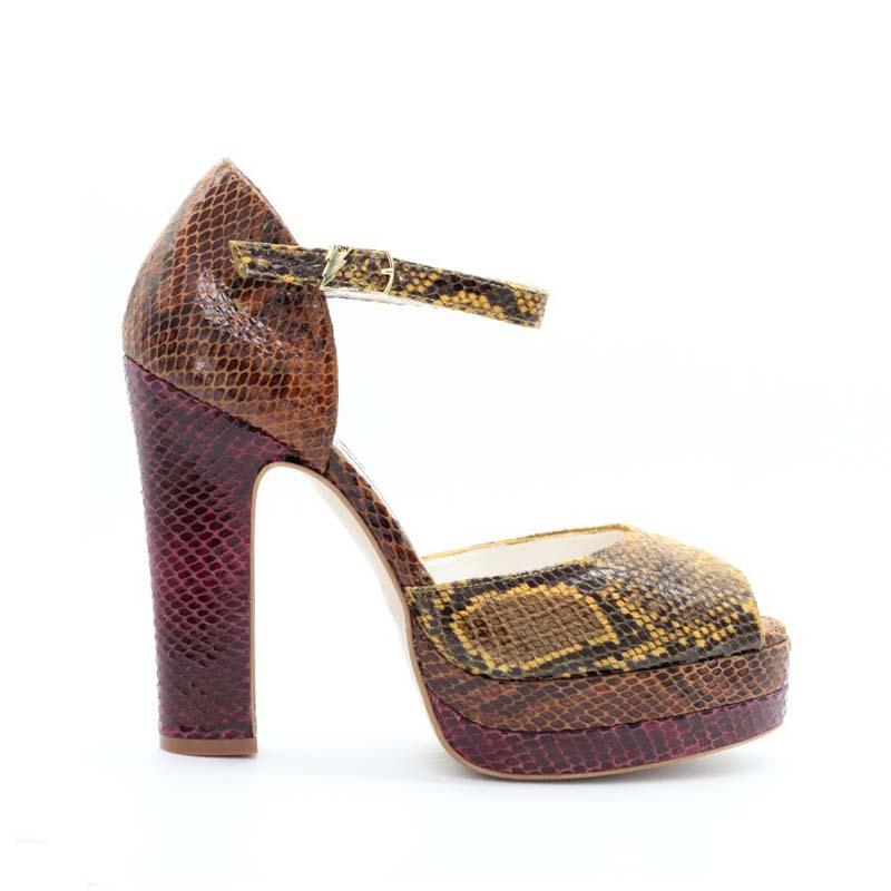 Terry De Havilland Croc Print Lena Platform Sandals In Sunset Combo