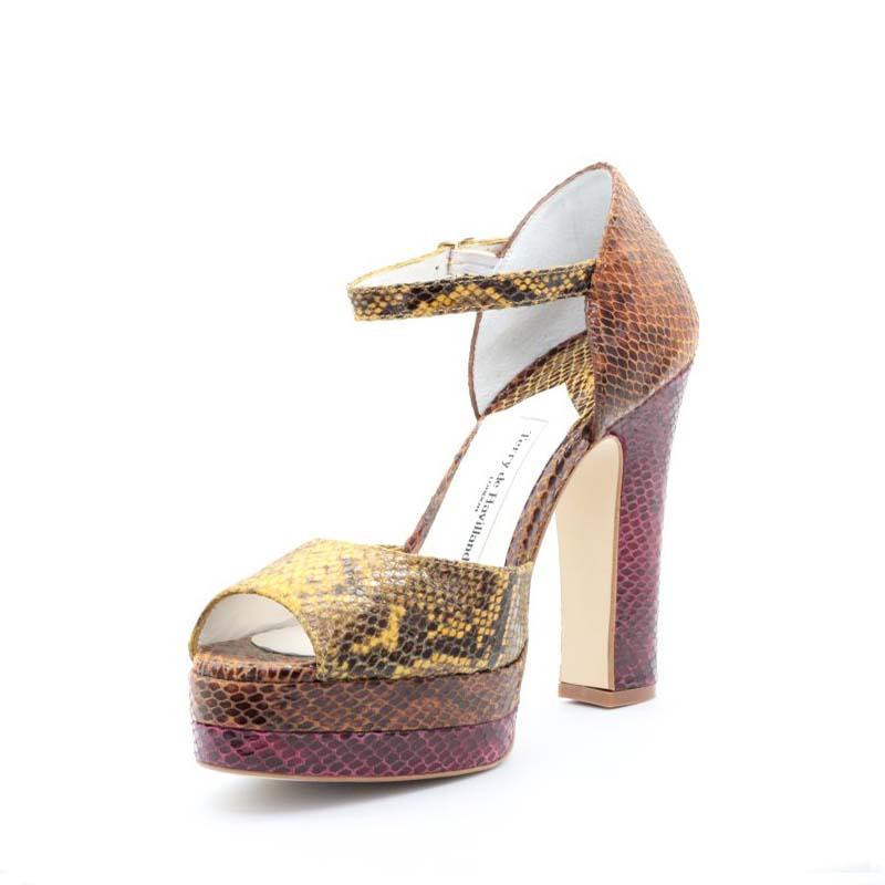 Terry De Havilland Croc Print Lena Platform Sandals In Sunset