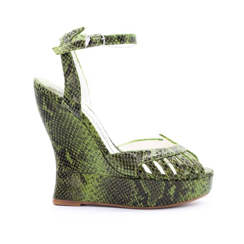 Terry De Havilland Margaux Green Snake Effect Leather Wedge