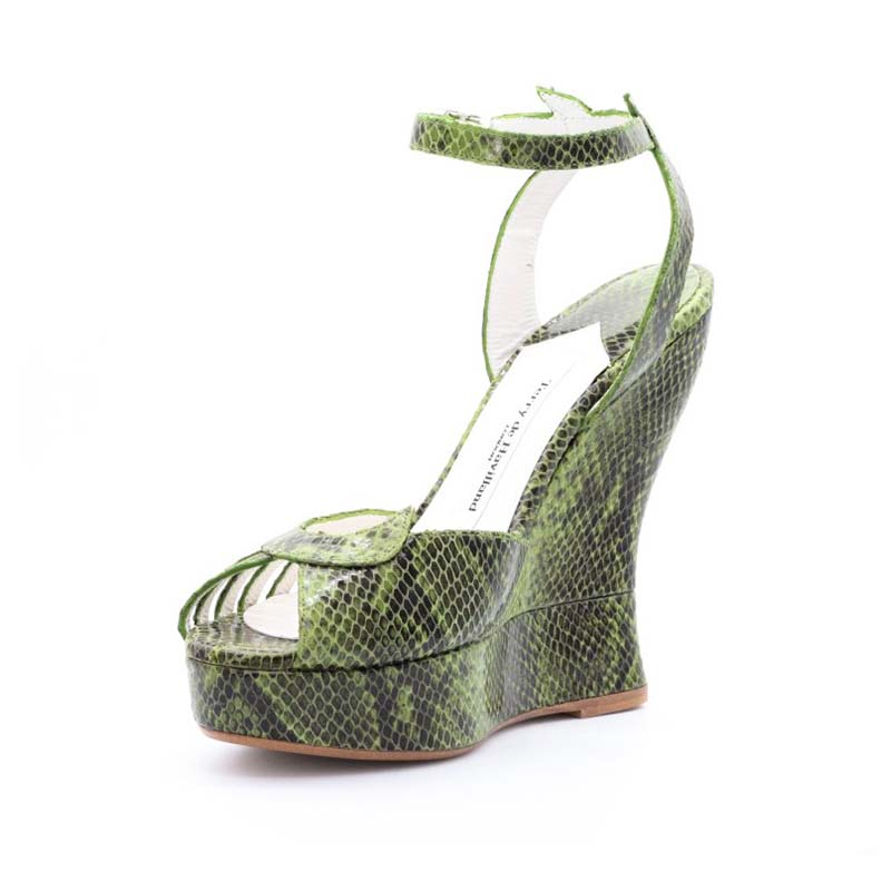 Uploaded ToTerry De Havilland Margaux Green Snake Effect Leather Wedge