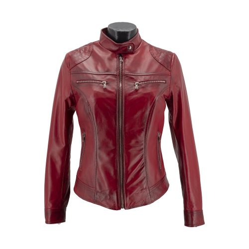Bordeaux Zipped Fitted Leather Jacket With Korean Style Neckline