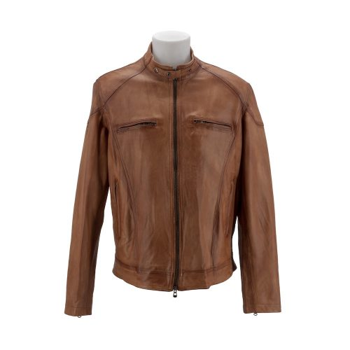 Tan Racer Leather Jacket With Korean Style Neckline