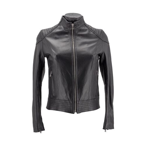 Black Zipped Fitted Bomber Style Leather Jacket