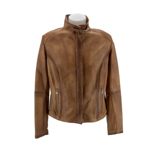 Tan High Neck Leather Jacket