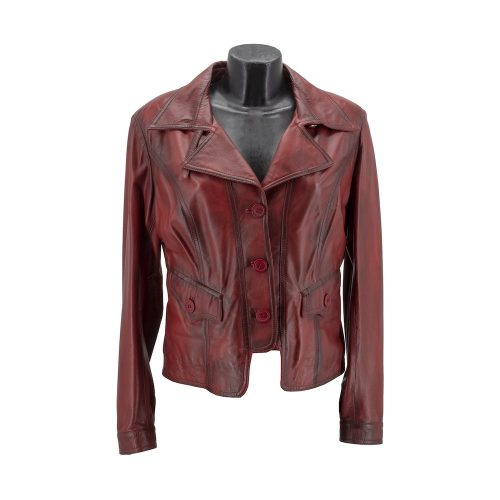 Red Leather Jacket With Buttons