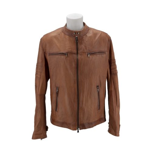 Tan Racer Leather Jacket With Korean Style Neckline & Zipped Pockets