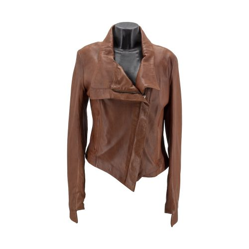Brown Asymmetric Zip Leather Jacket