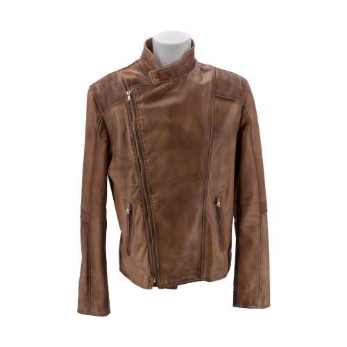Brown Double-breasted Leather Jacket With Asymmetric Zip