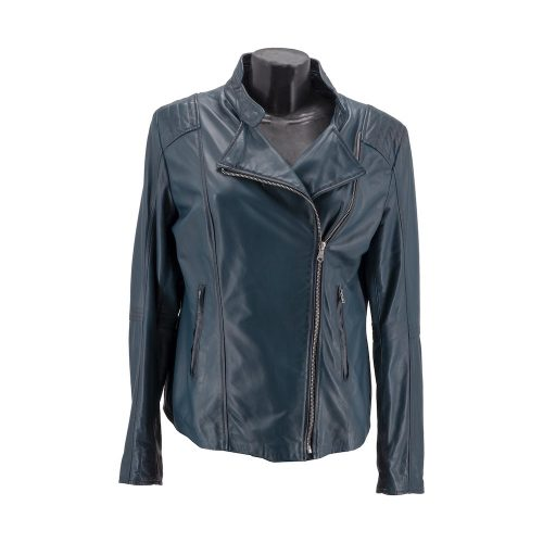 Navy Double Breasted Leather Jacket