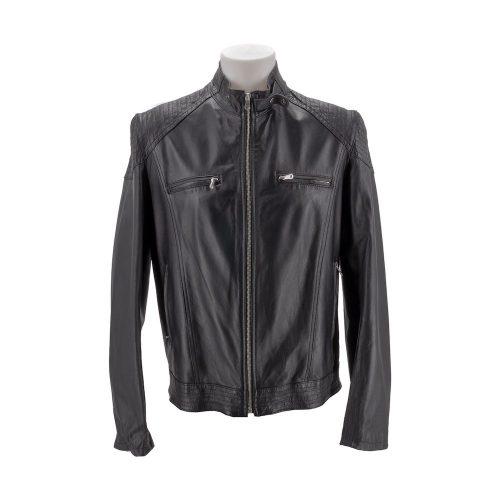 Black Leather Jacket With Shoulder Stitch Detail