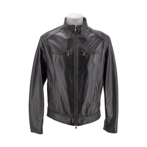 Black Leather Jacket With Bronze Zip