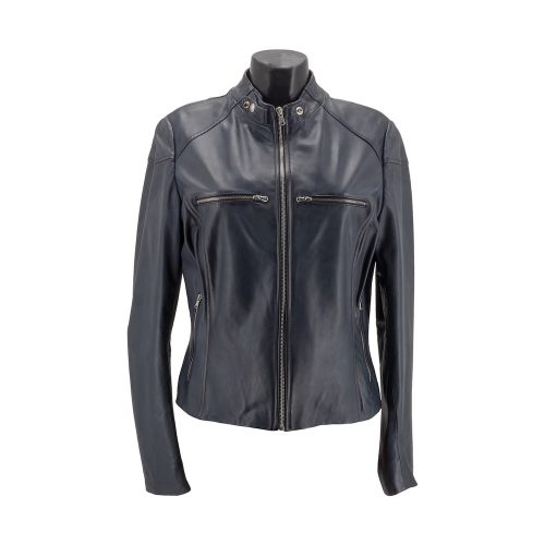 Navy Racer Leather Jacket