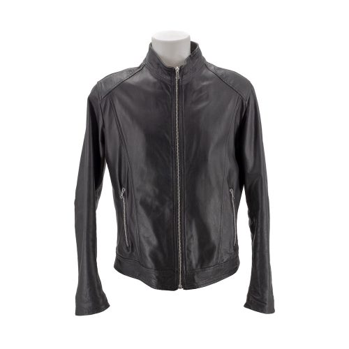 Black Leather Jacket With Korean Style Collar