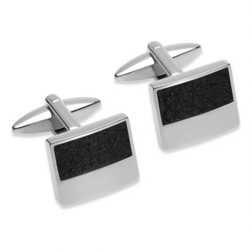 Unique & Co Men's Square Leather Cufflinks Black