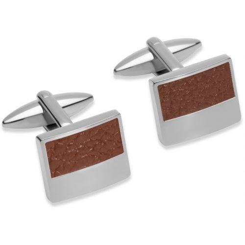 Unique & Co Men's Square Leather Cufflinks Brown