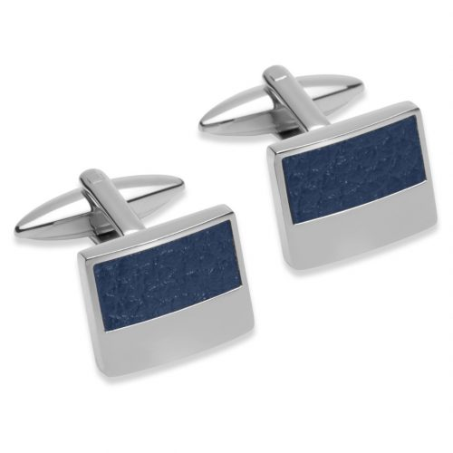 Unique & Co Men's Square Leather Cufflinks Navy