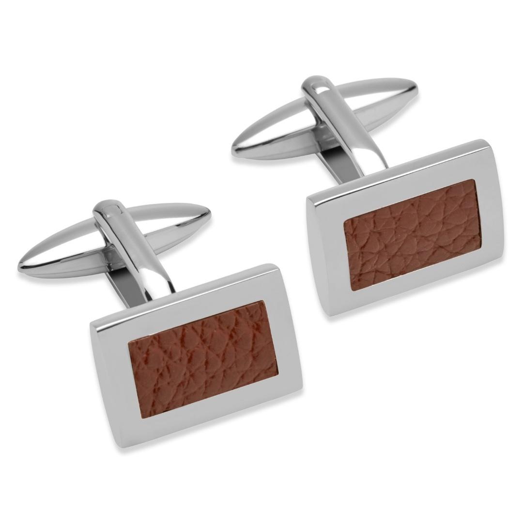 Unique & Co Men's Rectangular Leather Cufflinks Brown