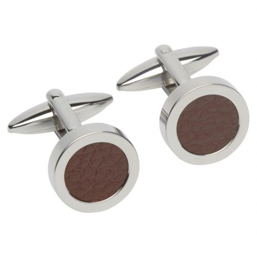 Unique & Co Men's Round Leather Cufflinks Brown