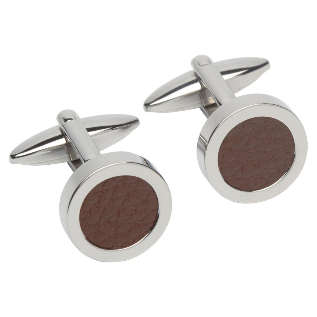 Unique & Co Men's Round Leather Cufflinks Brown