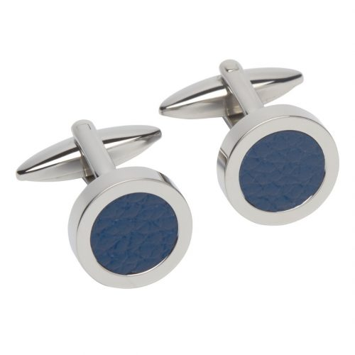 Unique & Co Men's Round Leather Cufflinks Blue