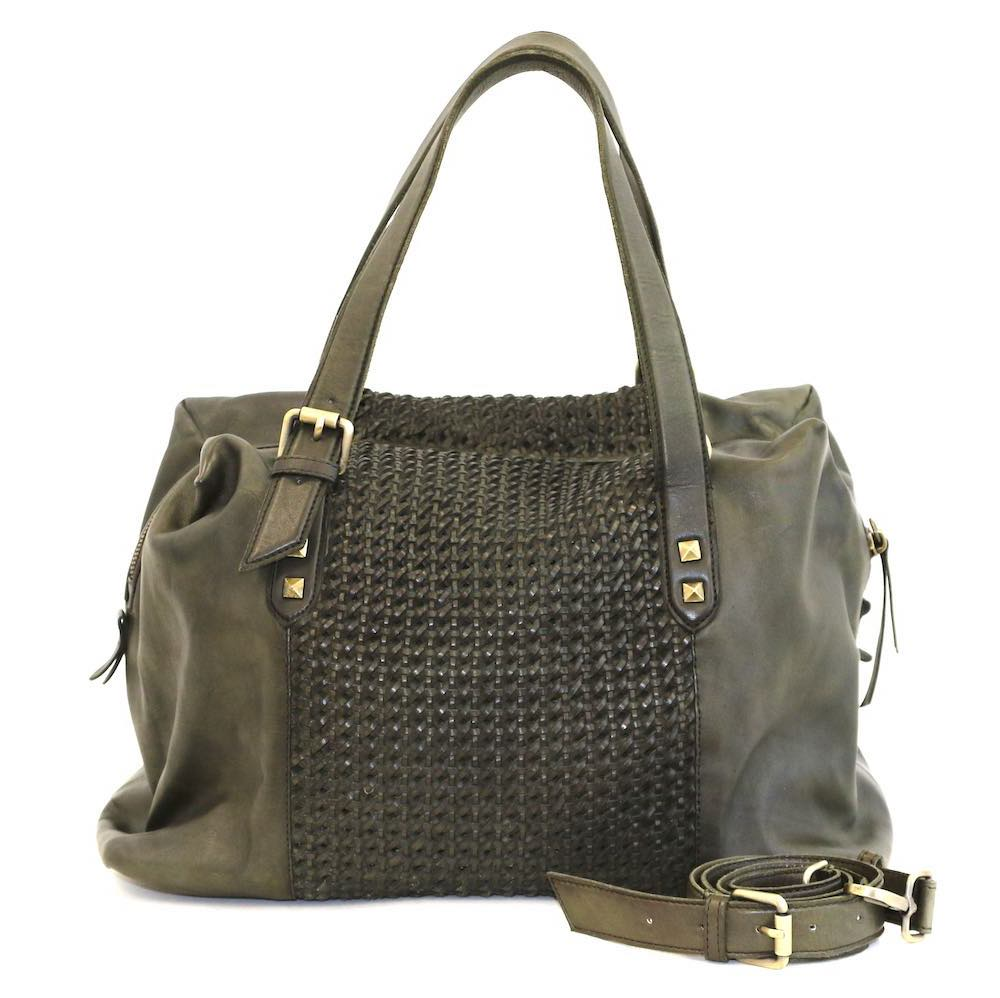DANIELA Hand Bag With Cross Weave Army